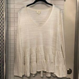 Long sleeve peplum style ruffled shirt